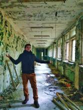 me in an abandoned building in Pripyat near Chernobyl