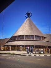 Lesotho house in traditional Lesotho hut shape as seen in Maseru
