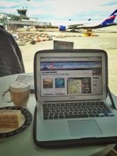 solo travel blog editor at the airport