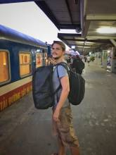 Wanderlust: standing at a railway train station with all your belongings