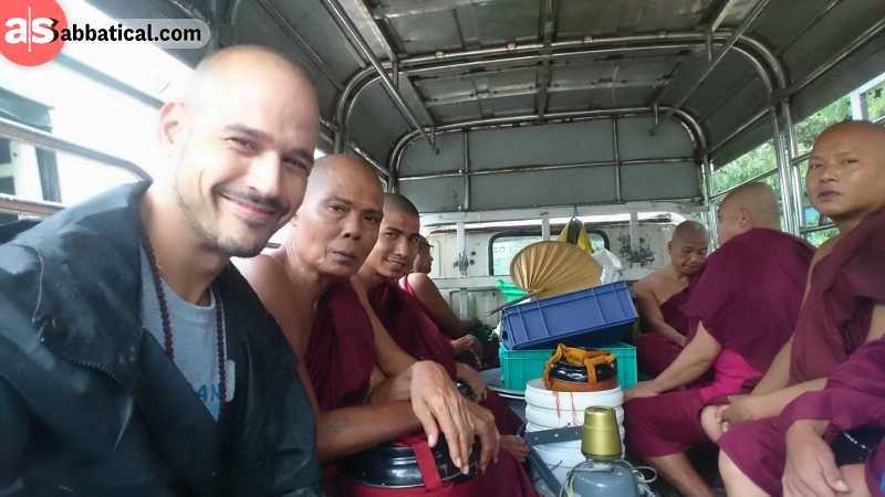 Nelson with Buddhist monks.
