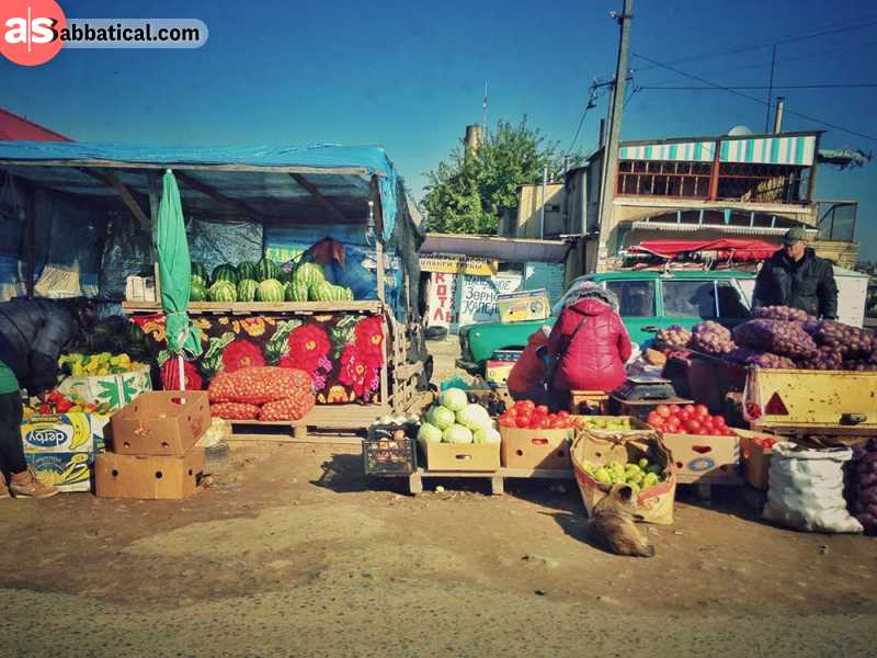 Fruit and vegetable shops along the roads of Tiraspol