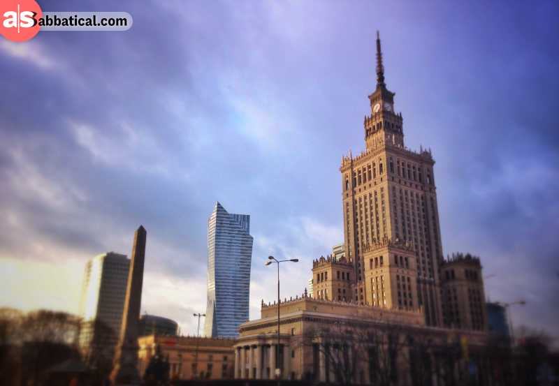 An example of different architecture styles in Warsaw.