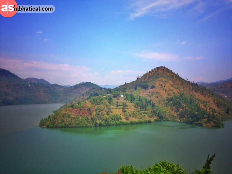 Hills and valleys in Rwanda: Lake Kivu on the border to the Congo