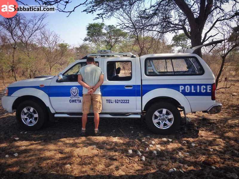 Talking our way out of a fake speeding ticket in Gweta, Botswana
