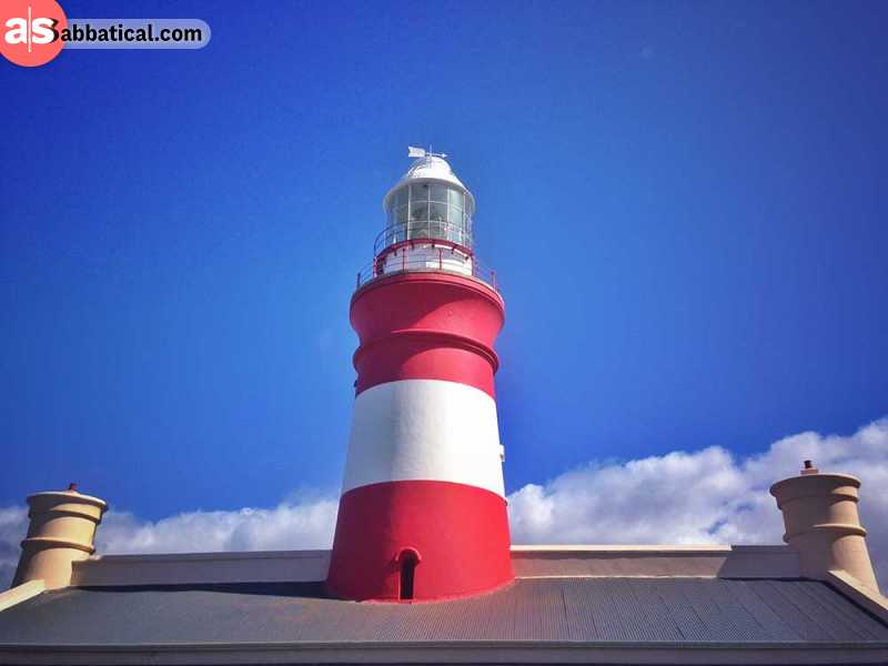 southern most lighthouse of africa in cape agulhas, south africa