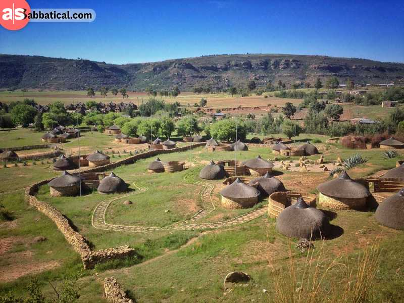 Thaba Bosiu cultural village in Lesotho showing traditional african life