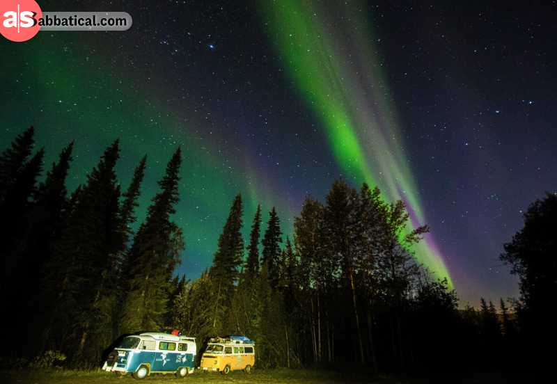 Enjoying the sight of the Aurora Borealis somewhere in Canada.