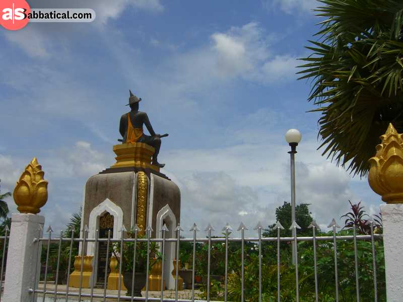 Located in the Pha That Luang is the statue of the most important leader in Laotian history.