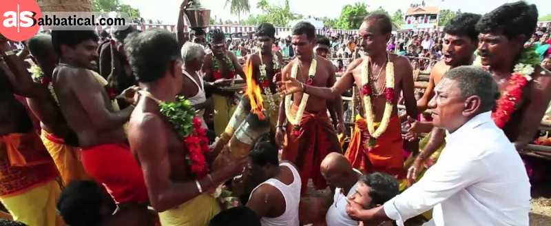 Aadi Festival is one of festivals in Tamil Nadu with unique way of celebrating. The devotees gather to celebrate the protest against British by allowing the priest to perform the coconut breaking ritual on their heads!