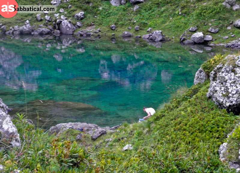 One of the magnificent Abudelauri Lakes situated on top the Chaukhi Pass.