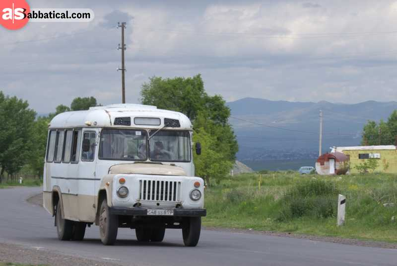 Bus is a typical means of transportation in Armenia.
