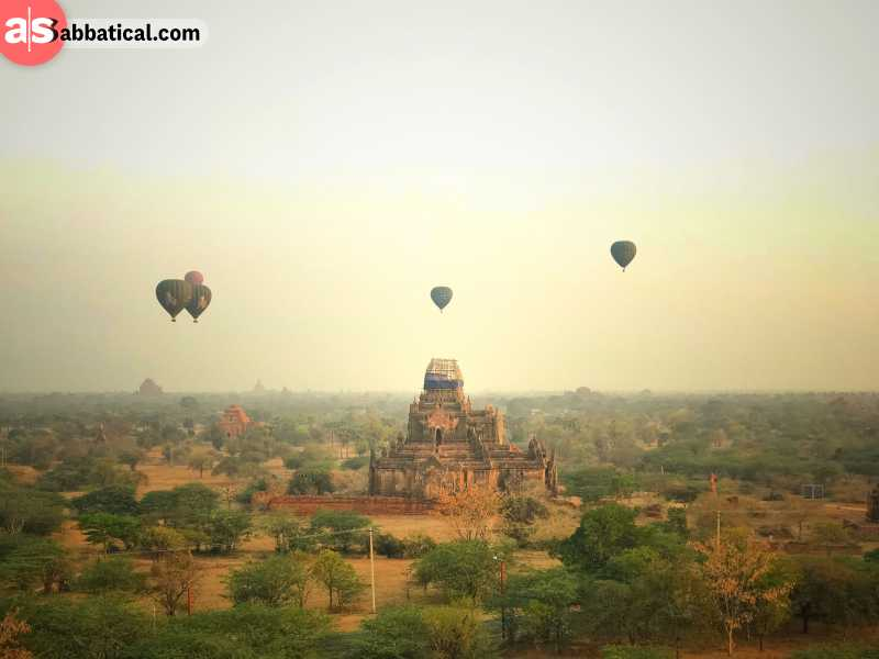 Taking a baloon ride over Bagan may be expensive, but it is most certainly an unforgettable experience.