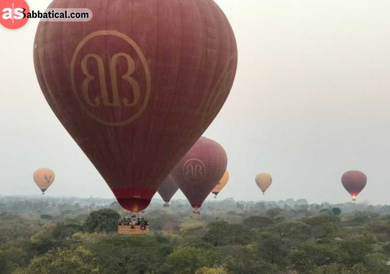 Flying over Bagan in a baloon