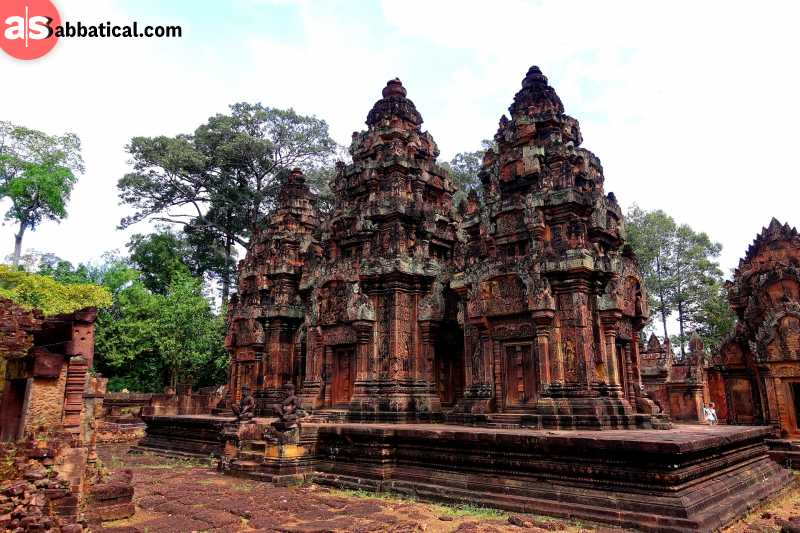 Banteay Srei Temple was built of red sandstone, differentiating it from the other temples in Cambodia.