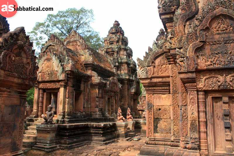 Banteay Srei is made of red sandstone and its carvings tell the story of Ramayana.