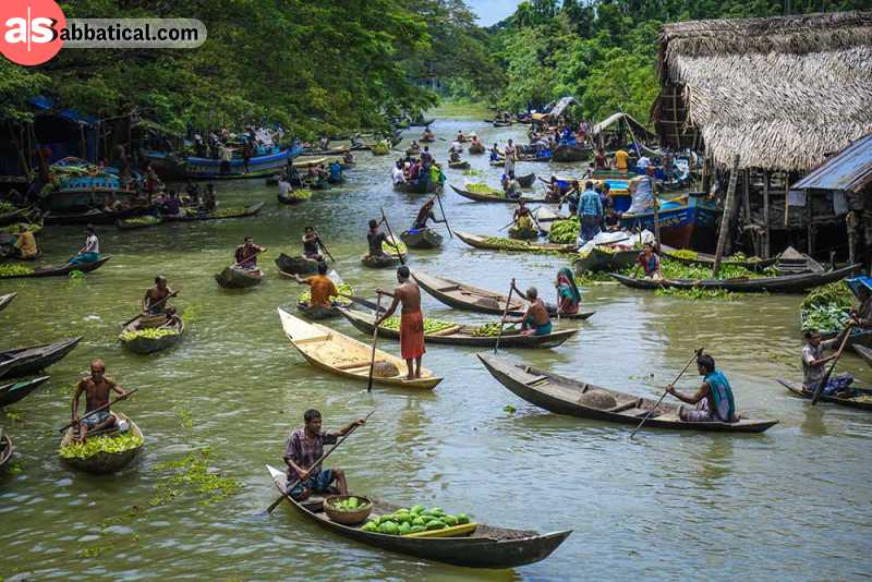 A floating market in Barisal.