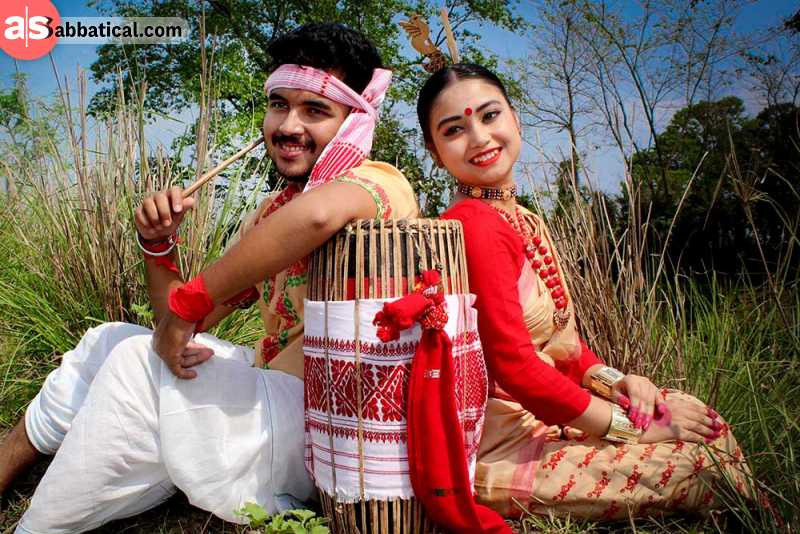Bihu Festival is a harvest festival that is celebrated three times through the year. Dancing in traditional attires in one of the highlights.