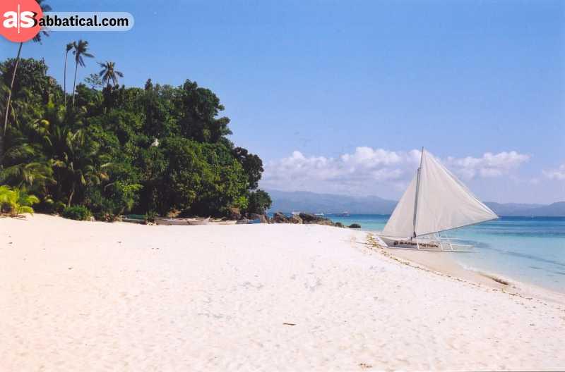 Boracay has beautiful white sand beaches.