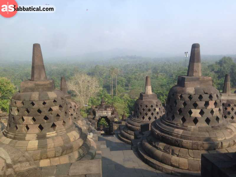Awaiting the sunrise at the Borobodur temple complex is awe-inspiring.