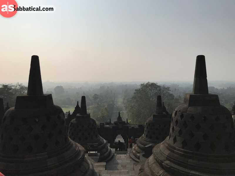 Borobudur Temple is surrounded by vast jungle.
