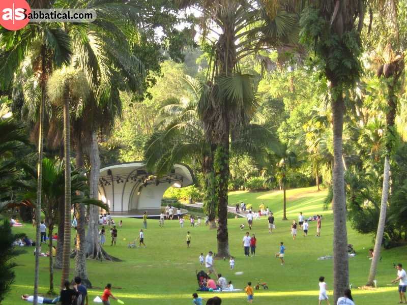 This particular section of the Botanic Gardens in Singapore is one of the most popular gathering and picnic spots.