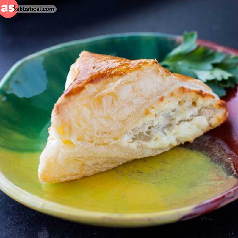 Boyrek is a pastry filled with cheese, perfect for breakfast or a snack