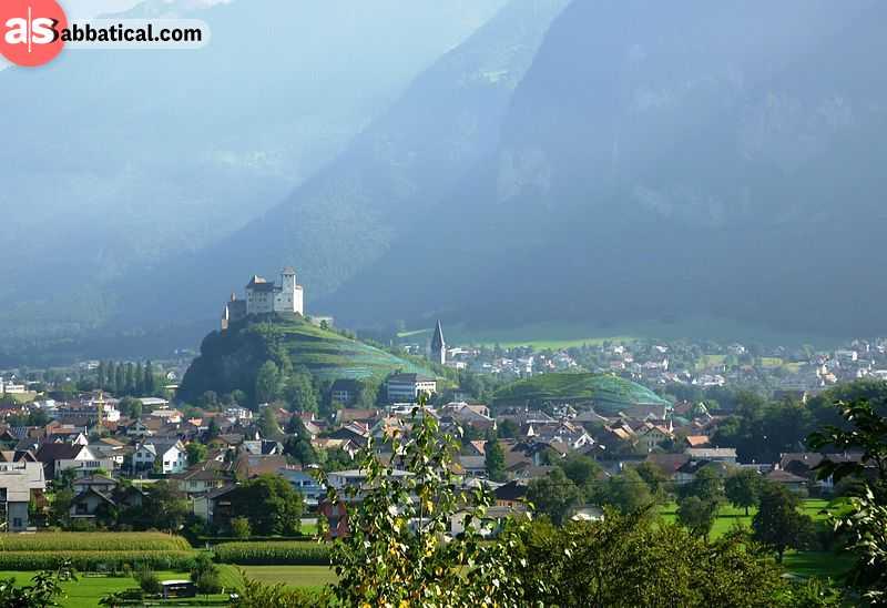 Gutenberg Castle towering above Balzers villages.