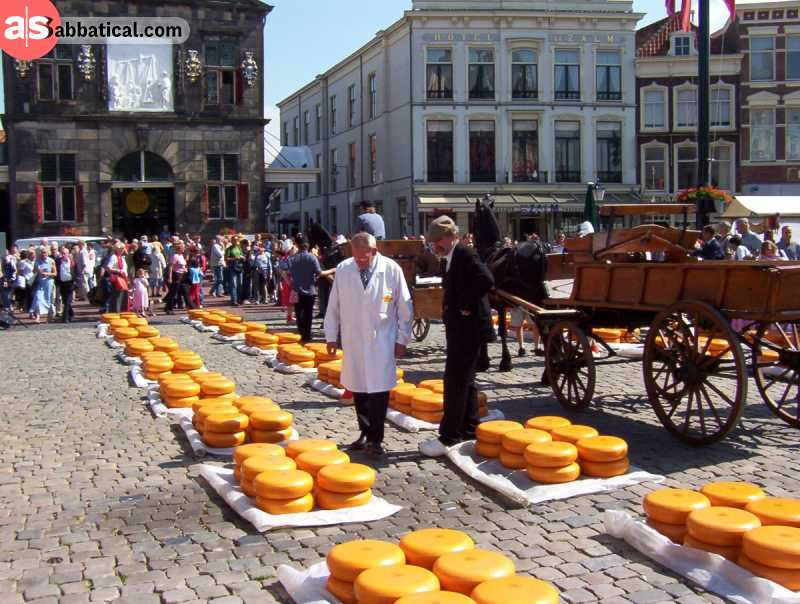 Amsterdam will most likely be your starting off point in the Netherlands, but dive in deeper, and you'll find a cheese market like this, or something even more interesting!
