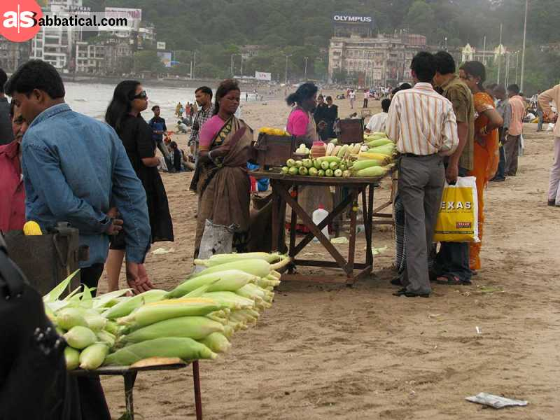 Chowpatty Beach is more known for the food vendors than for swimming.