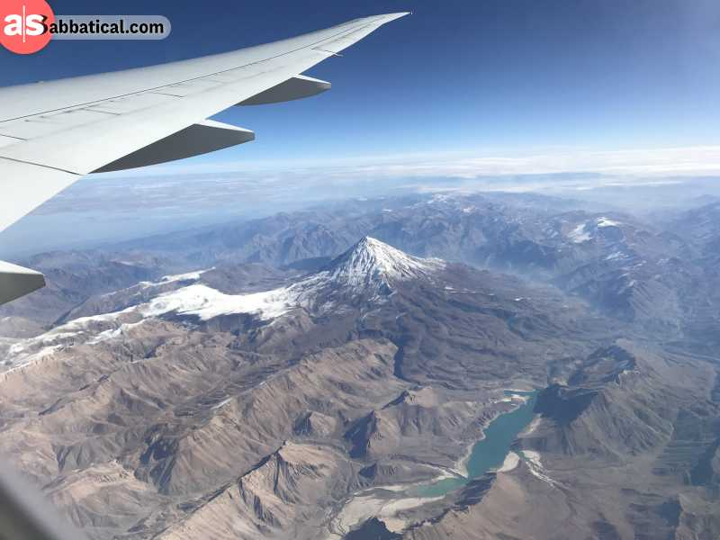 Mount Damavand seen from the safety of a plane cockpit.