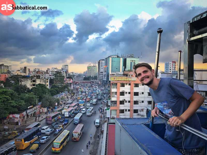 The view from a rooftop restaurant in Dhaka.