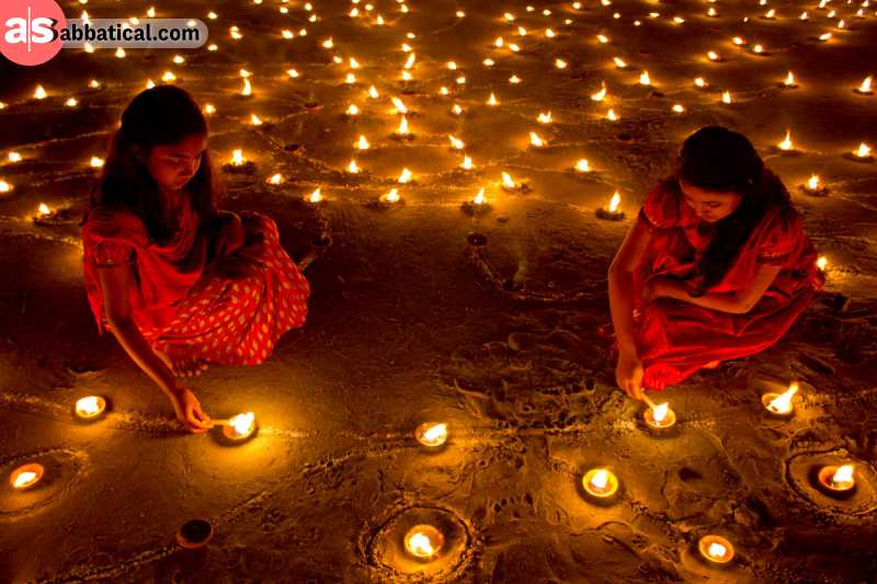 During the Diwali Festival, people celebrate the return of Lord Rama by decorating their homes with candles and other light sources.