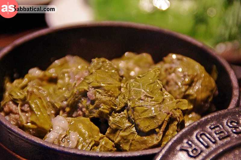 Dolma means stuffed and Armenians know how to make stuffed food. From cabbage leaves to fresh young grape leaves, Armenians know to spice the meat and roll it in vegetables. There is no special occasion for dolma food, so have a try.