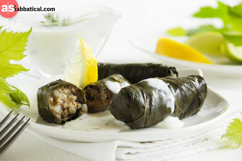 Dolma is lamb and rice wrapped in cabbage or vine leaves.
