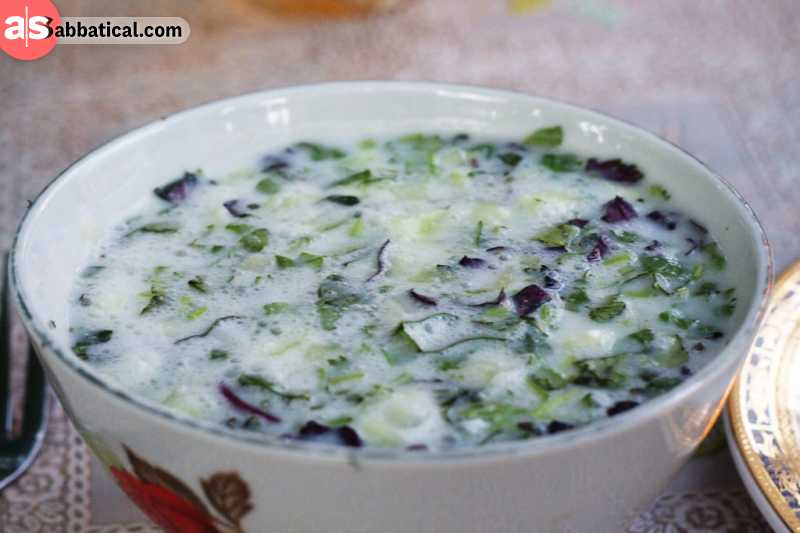 Dovga is a soup made of yogurt.
