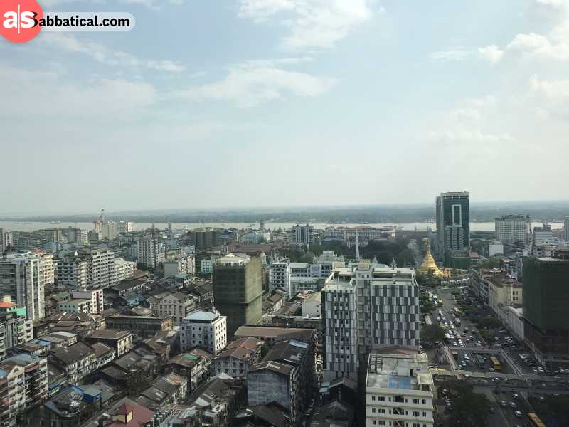 Downtown Yangon, and Sule Pagoda in the distance.