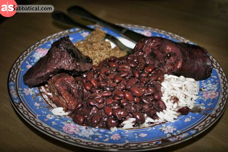 Feijoada is a food that was brought by the Portuguese.