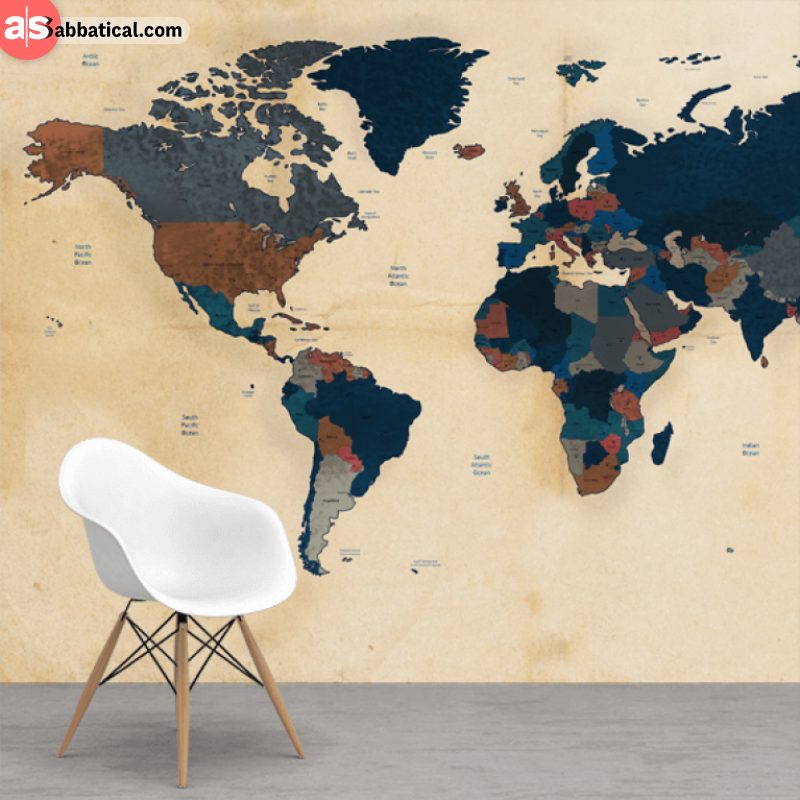 Get Inspired By A Printed World Map ASabbatical - Huge world map for wall