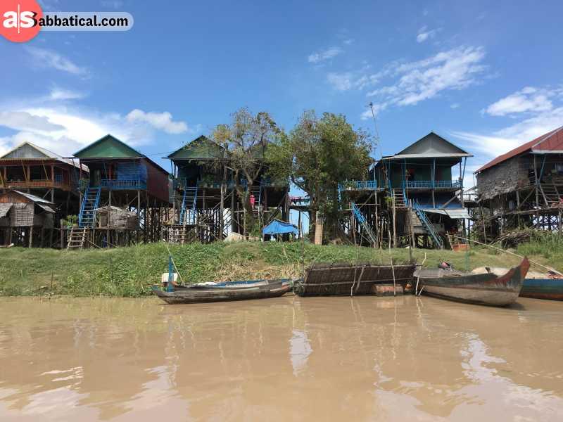 Kampong Phluk Floating Village is located on Tonle Sap Lake.