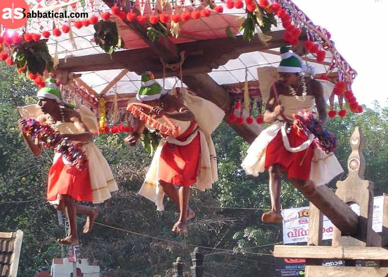 Garudan Thookkam is one of the painful Indian traditions where the participants are hung on a shaft with hooks. It is one of the traditional rituals in Kerala.