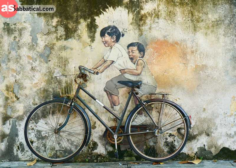 'Little Children on a Bicycle' is a prime example of street art in George Town.