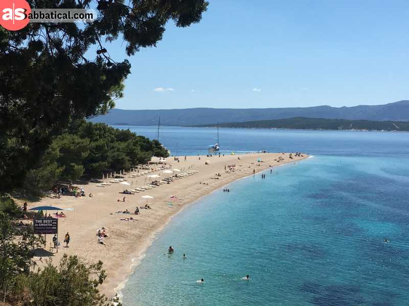 The unusual V-shape of the Golden Horn Beach make it one of the most beautiful and popular beaches in Croatia.