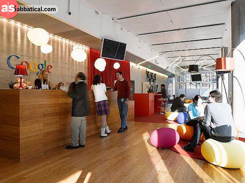 The atmosphere inside Google offices encourages creative work.