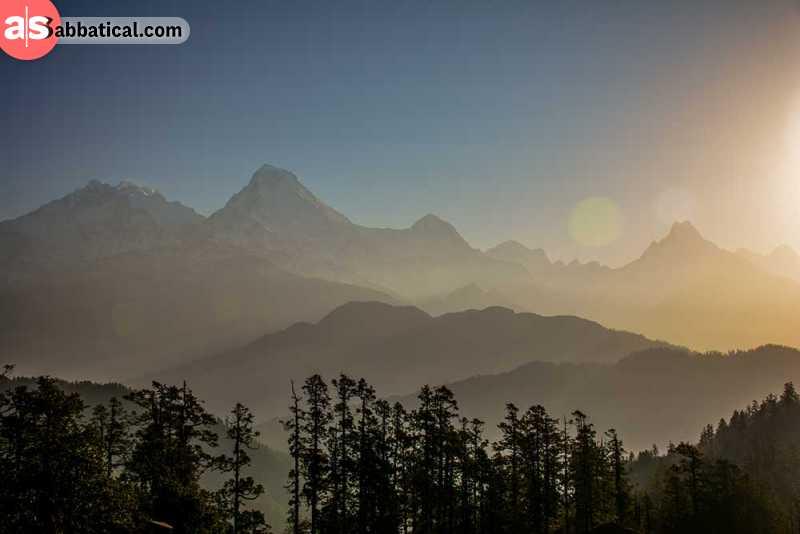 Himalayan mountain range takes up 16% of Nepal land area.