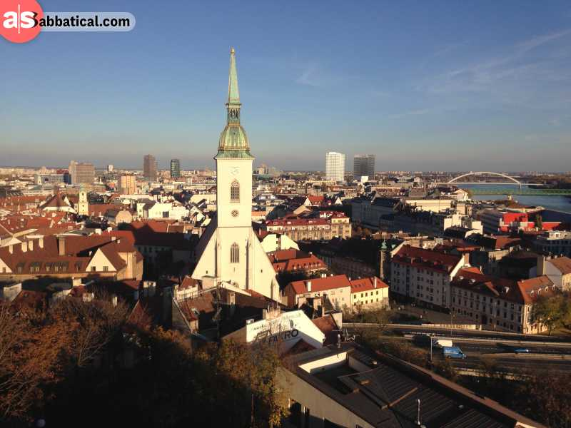 Bratislava is a city with a beautiful architecture that mixes medieval and modern styles.