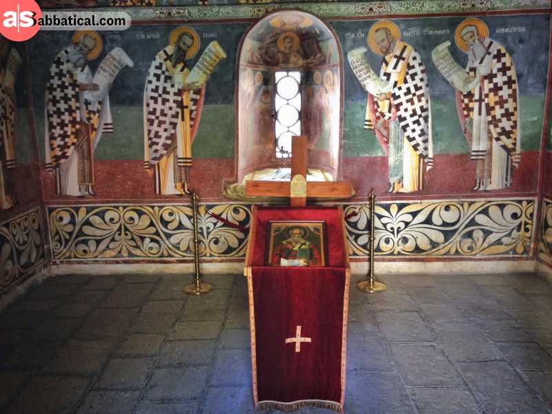 The resting place of St. Basil, inside Ostrog Monastery.
