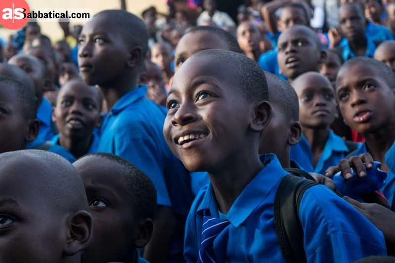 Happy kids in educational program