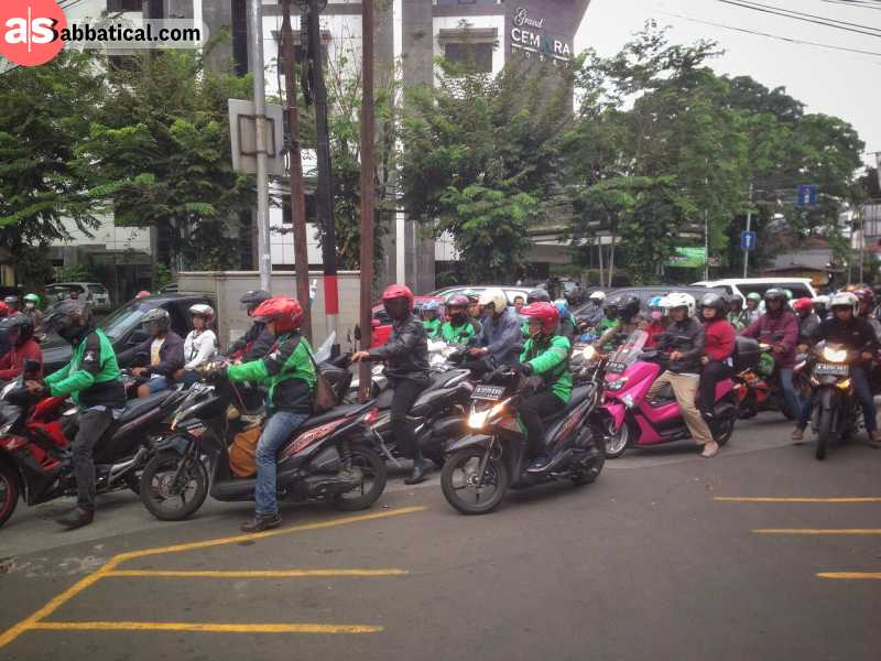 Jakarta traffic is mostly flooded with motorbikes, and there are few interesting strategies to reduce the traffic congestion.