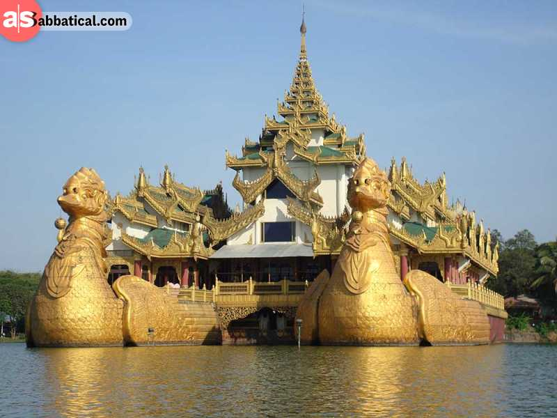 Karaweik Palace is a majestic golden structure located on the Kandawgyi lake.